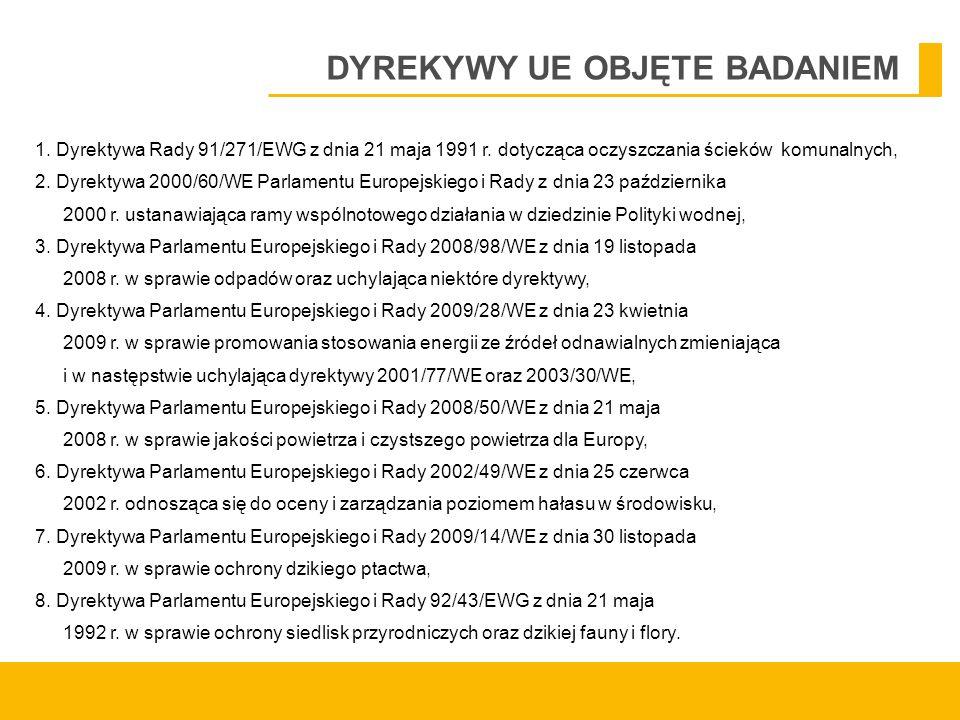 DYREKYWY UE OBJĘTE BADANIEM 1. Dyrektywa Rady 91/271/EWG z dnia 21 maja 1991 r.