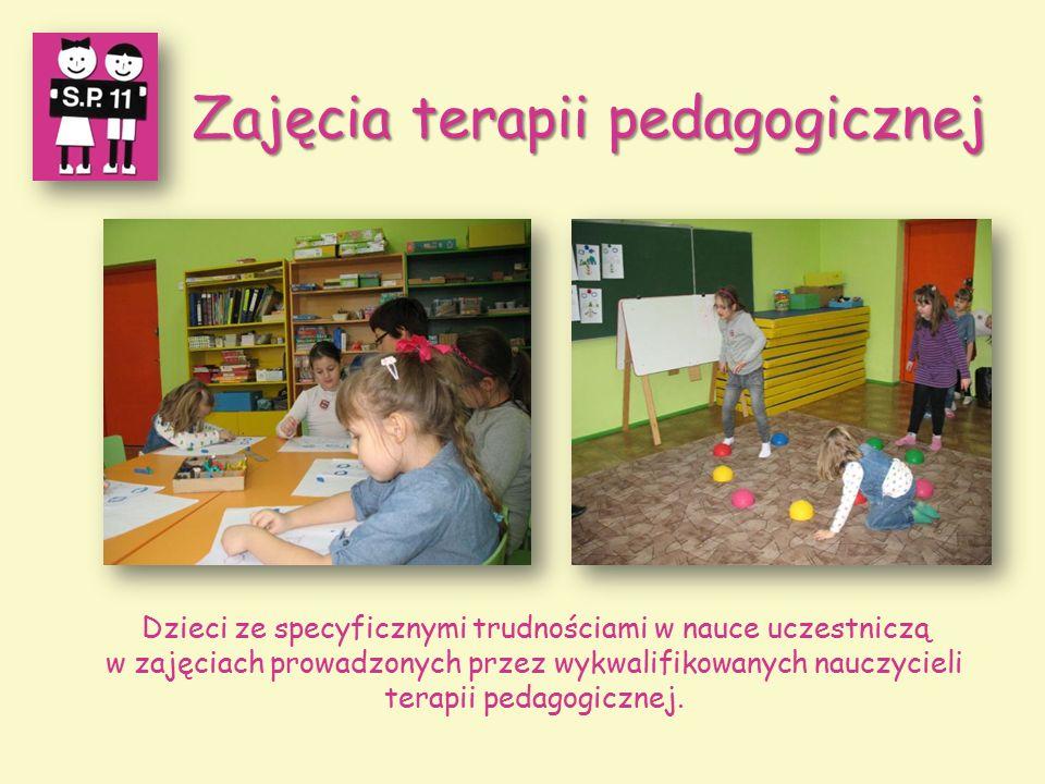 Zajęcia terapii pedagogicznej Zajęcia terapii pedagogicznej Dzieci ze specyficznymi trudnościami w nauce uczestniczą w zajęciach prowadzonych przez wykwalifikowanych nauczycieli terapii pedagogicznej.