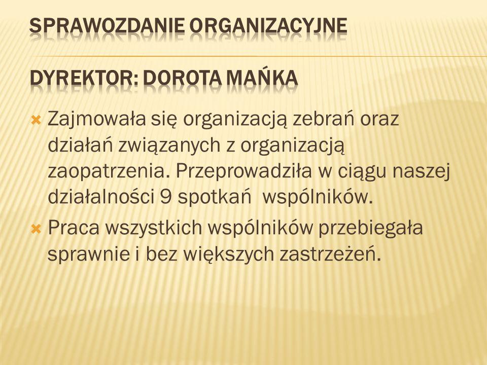  Zajmowała się organizacją zebrań oraz działań związanych z organizacją zaopatrzenia. Przeprowadziła w ciągu naszej działalności 9 spotkań wspólników