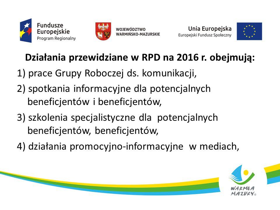 Działania przewidziane w RPD na 2016 r. obejmują: 1) prace Grupy Roboczej ds. komunikacji, 2) spotkania informacyjne dla potencjalnych beneficjentów i