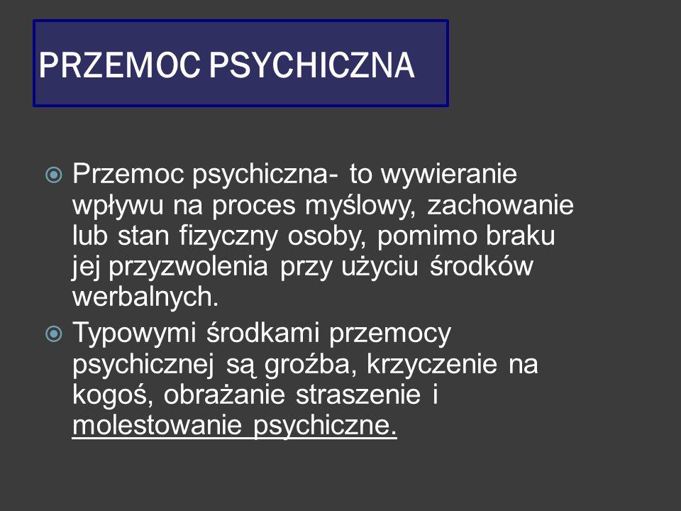 PRZEMOC PSYCHICZNA  Przemoc psychiczna- to wywieranie wpływu na proces myślowy, zachowanie lub stan fizyczny osoby, pomimo braku jej przyzwolenia prz