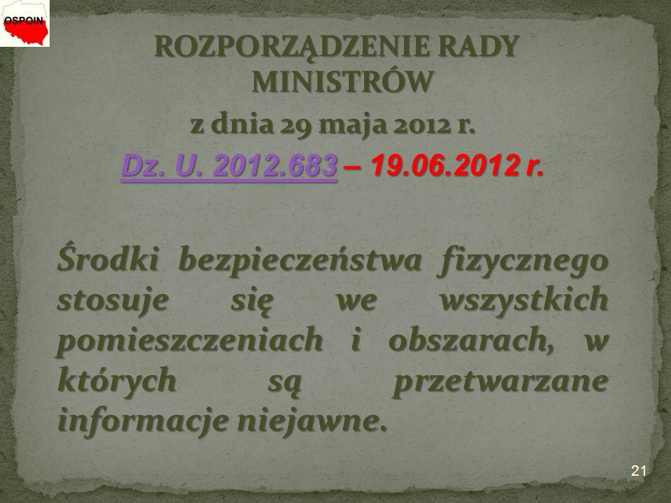 ROZPORZĄDZENIE RADY MINISTRÓW z dnia 29 maja 2012 r.