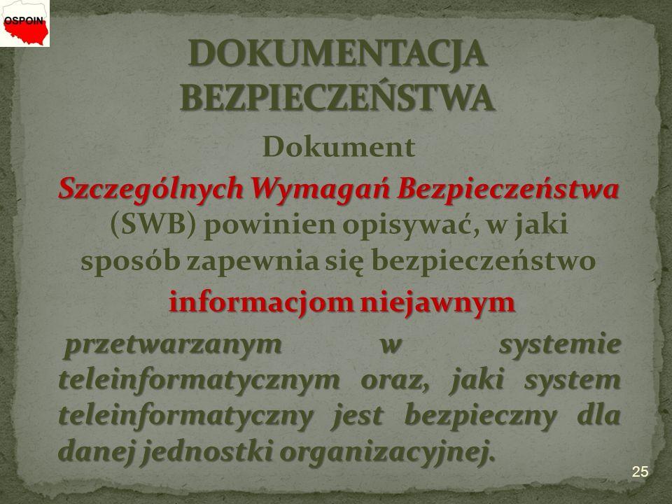 Dokument Szczególnych Wymagań Bezpieczeństwa Szczególnych Wymagań Bezpieczeństwa (SWB) powinien opisywać, w jaki sposób zapewnia się bezpieczeństwo informacjom niejawnym przetwarzanym w systemie teleinformatycznym oraz, jaki system teleinformatyczny jest bezpieczny dla danej jednostki organizacyjnej.