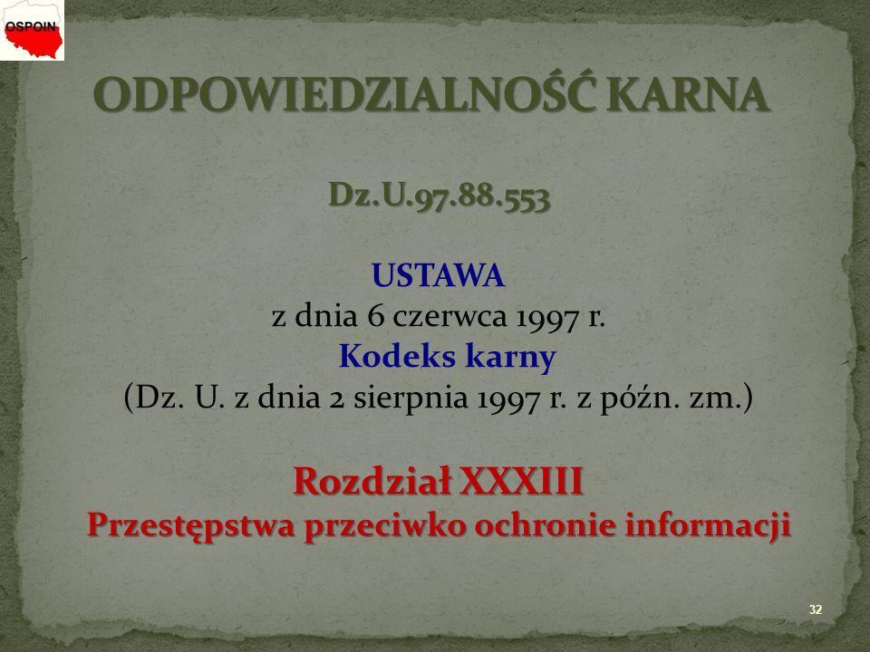Dz.U.97.88.553 USTAWA z dnia 6 czerwca 1997 r. Kodeks karny (Dz.
