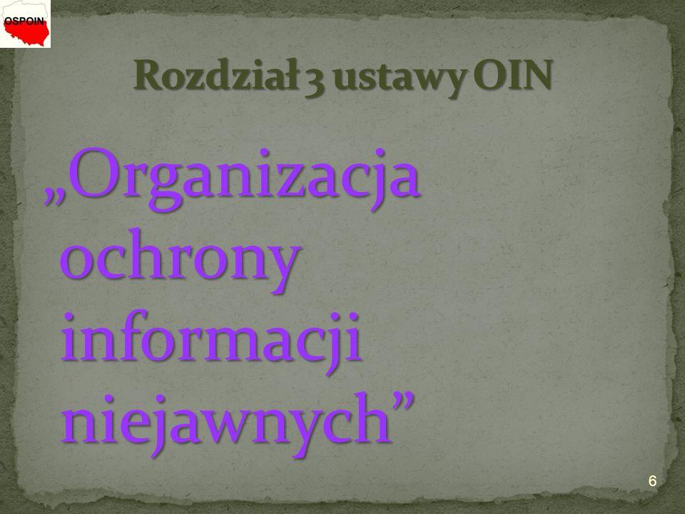 """6 """"Organizacja ochrony informacji niejawnych ochrony informacji niejawnych"""