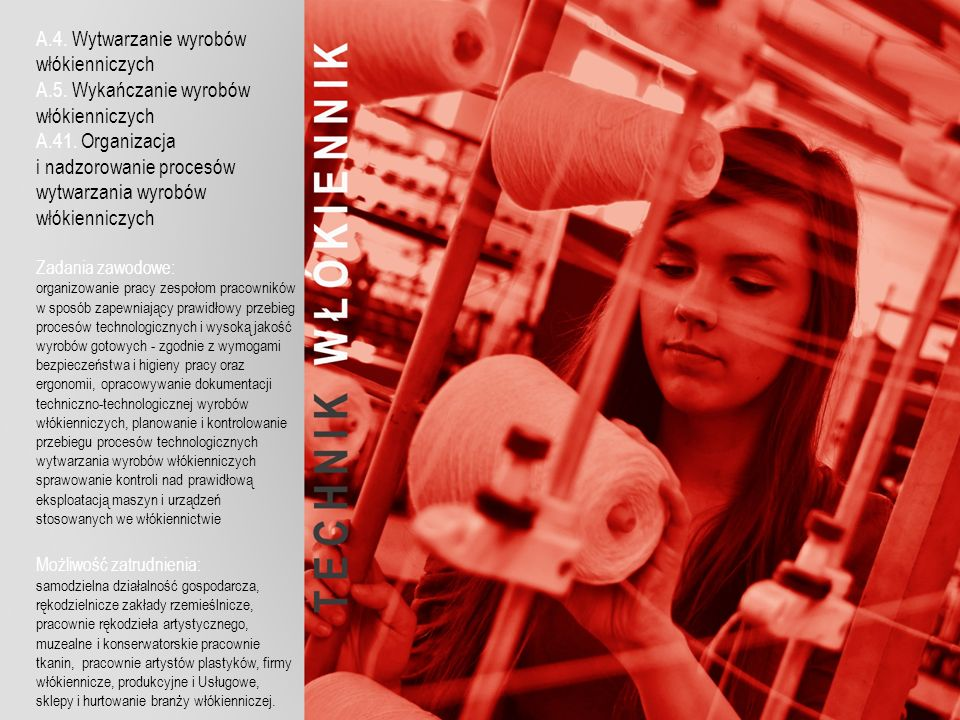 A.4. Wytwarzanie wyrobów włókienniczych A.5. Wykańczanie wyrobów włókienniczych A.41.