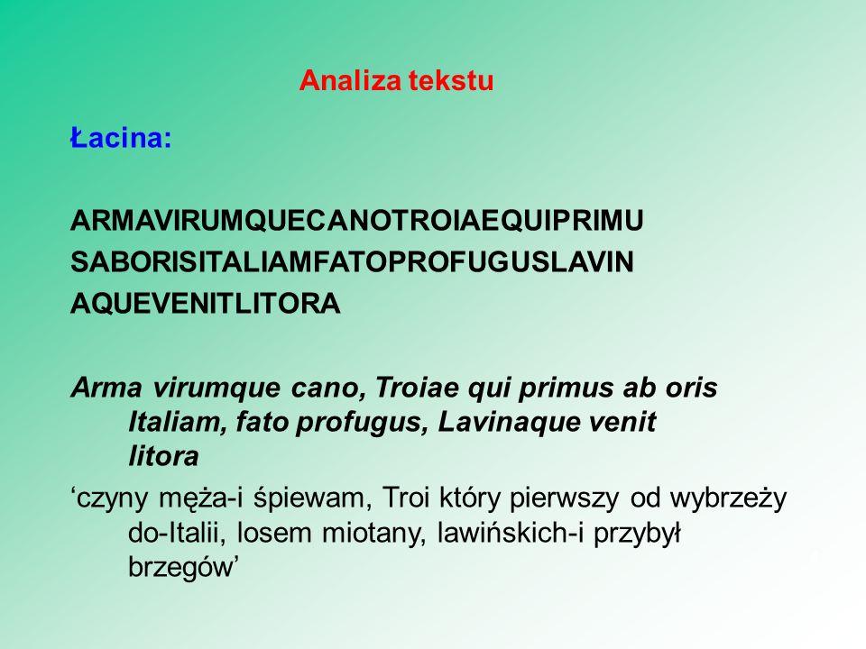 Łacina: ARMAVIRUMQUECANOTROIAEQUIPRIMU SABORISITALIAMFATOPROFUGUSLAVIN AQUEVENITLITORA Arma virumque cano, Troiae qui primus ab oris Italiam, fato profugus, Lavinaque venit litora 'czyny męża-i śpiewam, Troi który pierwszy od wybrzeży do-Italii, losem miotany, lawińskich-i przybył brzegów' 4 Analiza tekstu