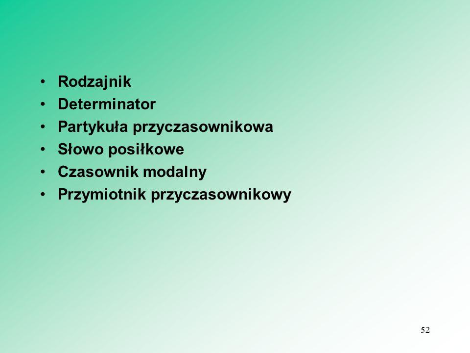 Rodzajnik Determinator Partykuła przyczasownikowa Słowo posiłkowe Czasownik modalny Przymiotnik przyczasownikowy 52