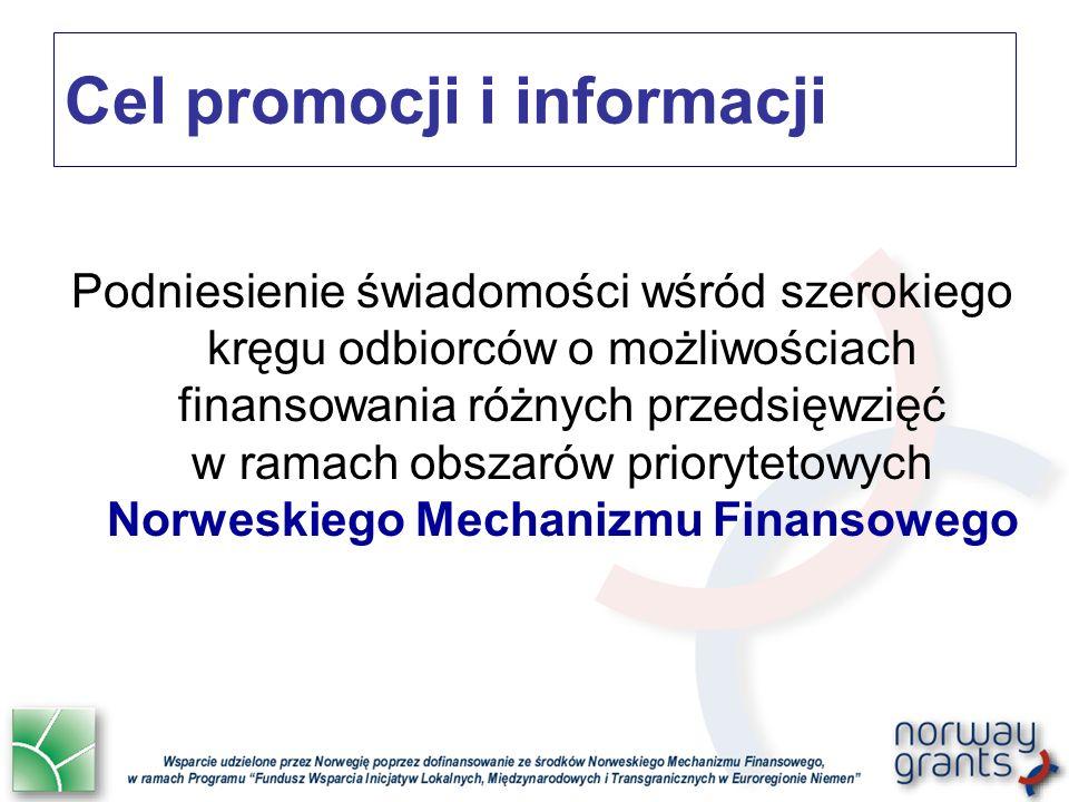 Cel promocji i informacji Podniesienie świadomości wśród szerokiego kręgu odbiorców o możliwościach finansowania różnych przedsięwzięć w ramach obszarów priorytetowych Norweskiego Mechanizmu Finansowego