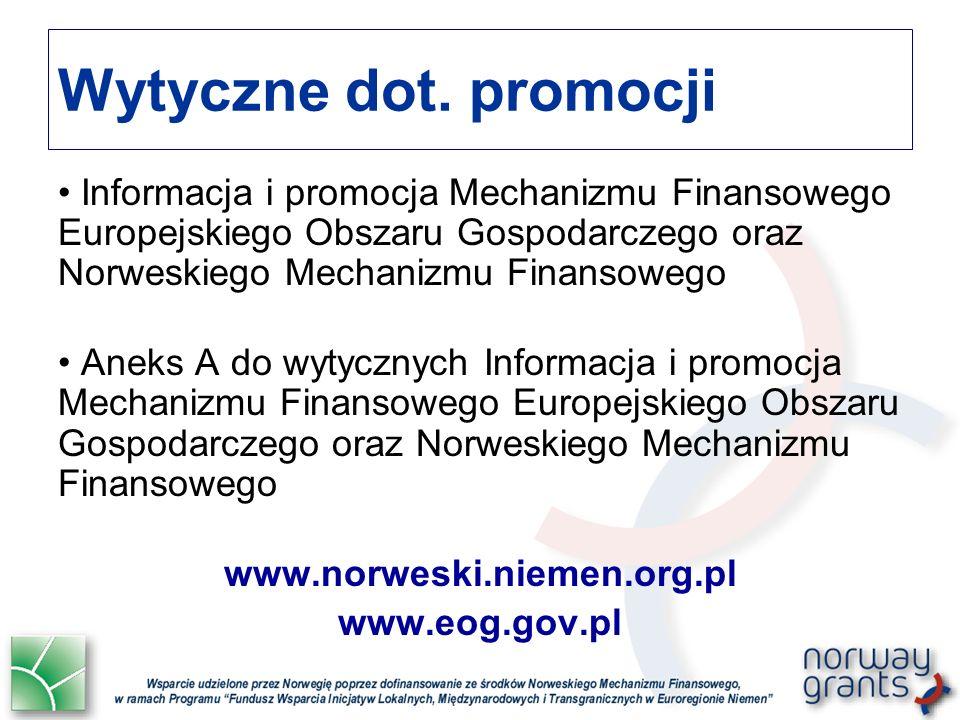 Wytyczne dot. promocji Informacja i promocja Mechanizmu Finansowego Europejskiego Obszaru Gospodarczego oraz Norweskiego Mechanizmu Finansowego Aneks