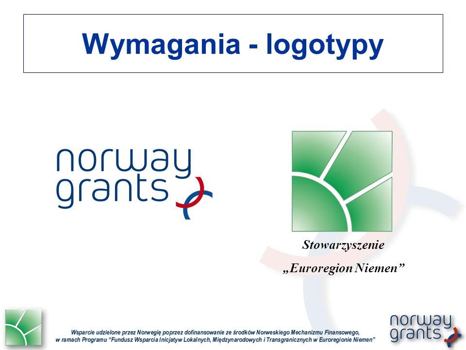Wymagania - logotypy Emblematom Mechanizmów Finansowych mogą towarzyszyć symbole narodowe lub regionalne.