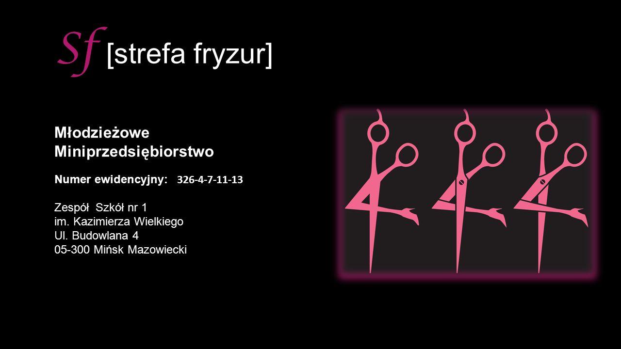 Sf [strefa fryzur] MłodzieżoweMiniprzedsiębiorstwo Numer ewidencyjny: 326-4-7-11-13 Zespół Szkół nr 1 im.