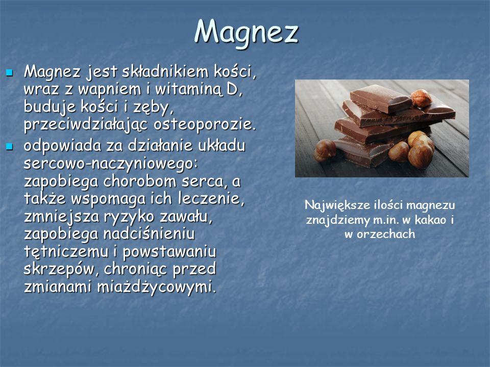 Magnez Magnez jest składnikiem kości, wraz z wapniem i witaminą D, buduje kości i zęby, przeciwdziałając osteoporozie.