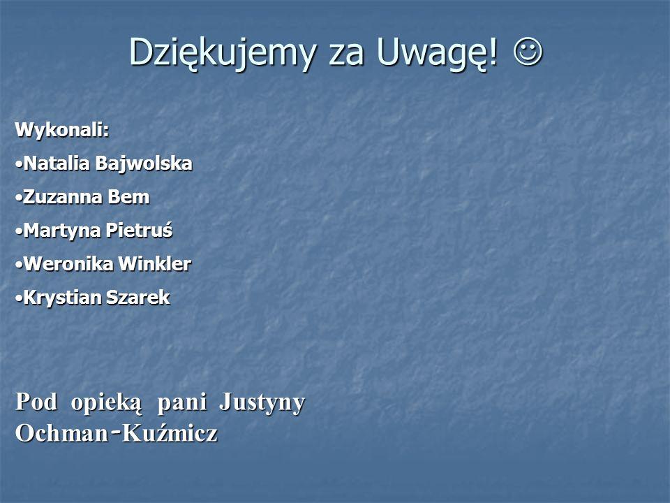 Dziękujemy za Uwagę! Dziękujemy za Uwagę! Wykonali: Natalia BajwolskaNatalia Bajwolska Zuzanna BemZuzanna Bem Martyna PietruśMartyna Pietruś Weronika