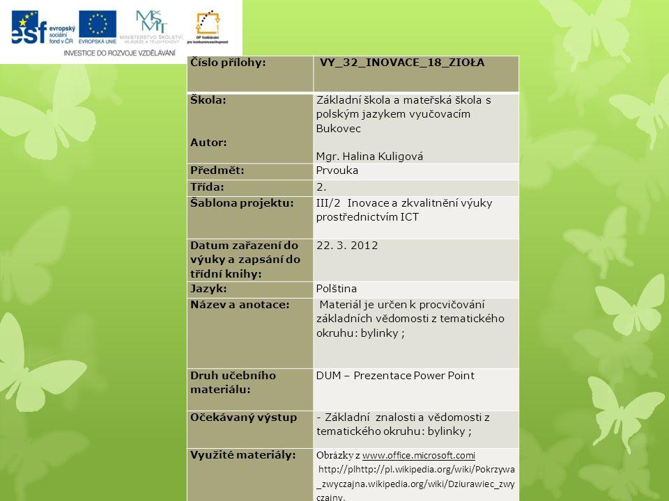 Číslo přílohy: VY_32_INOVACE_18_ZIOŁA Škola: Autor: Základní škola a mateřská škola s polským jazykem vyučovacím Bukovec Mgr.