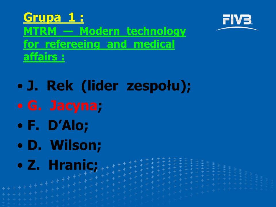 J. Rek (lider zespołu); G. Jacyna; F. D'Alo; D. Wilson; Z. Hranic; Grupa 1 : MTRM — Modern technology for refereeing and medical affairs :