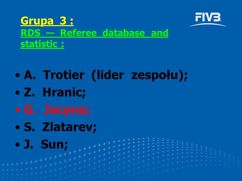 A. Trotier (lider zespołu); Z. Hranic; G. Jacyna; S. Zlatarev; J. Sun; Grupa 3 : RDS — Referee database and statistic :