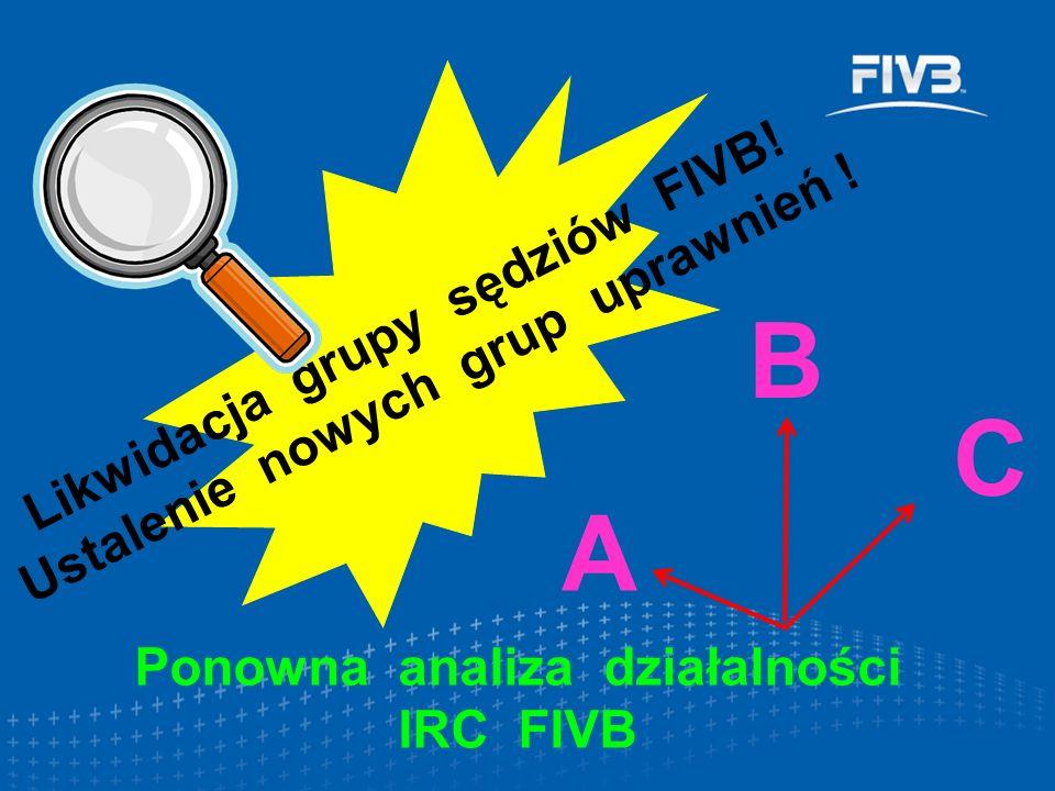 Ponowna analiza działalności IRC FIVB Likwidacja grupy sędziów FIVB! Ustalenie nowych grup uprawnień ! A B C