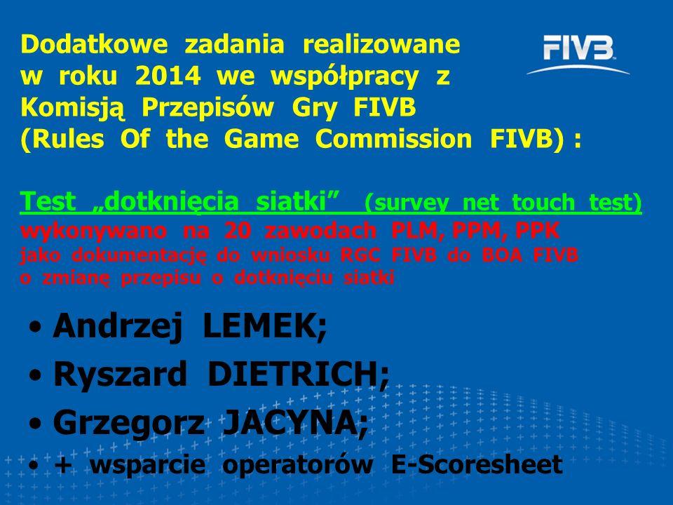 Andrzej LEMEK; Ryszard DIETRICH; Grzegorz JACYNA; + wsparcie operatorów E-Scoresheet Dodatkowe zadania realizowane w roku 2014 we współpracy z Komisją