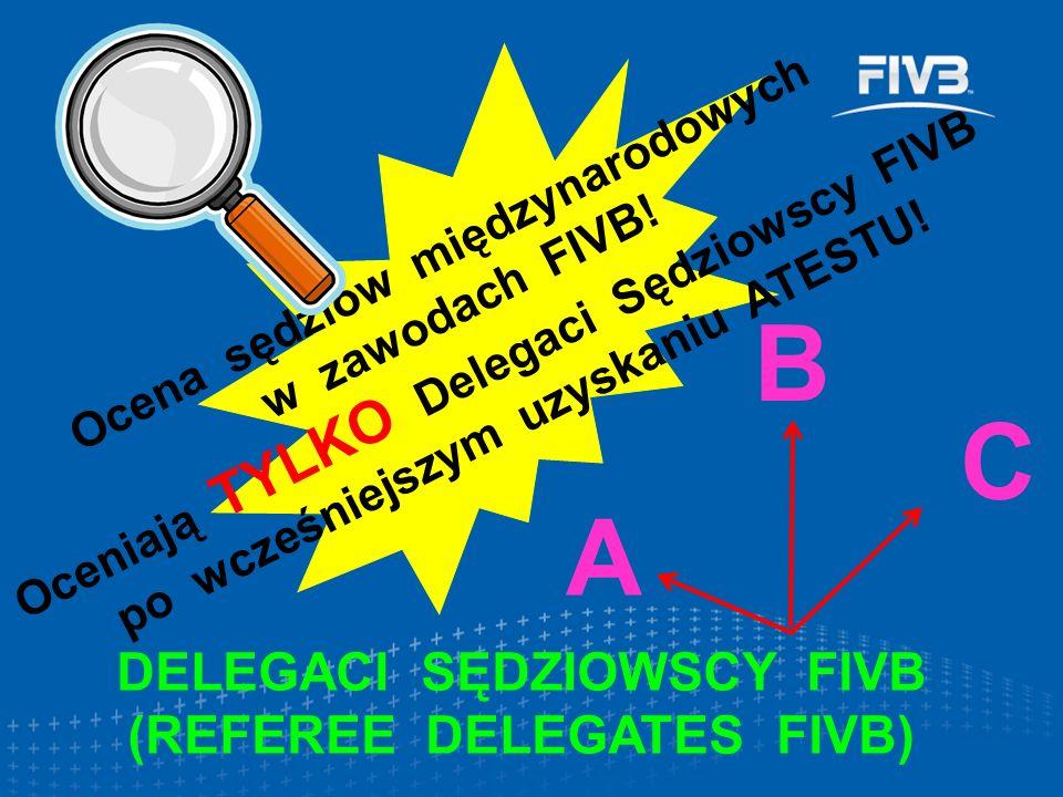 DELEGACI SĘDZIOWSCY FIVB (REFEREE DELEGATES FIVB) Ocena sędziów międzynarodowych w zawodach FIVB! Oceniają TYLKO Delegaci Sędziowscy FIVB po wcześniej