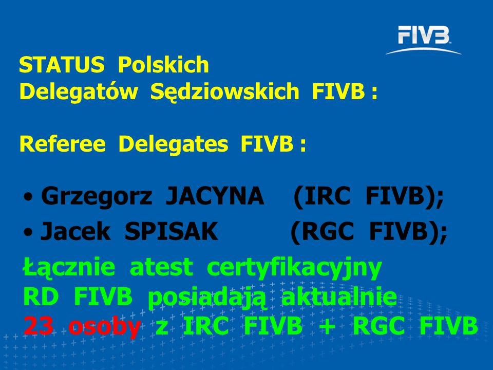 Grzegorz JACYNA (IRC FIVB); Jacek SPISAK (RGC FIVB); Łącznie atest certyfikacyjny RD FIVB posiadają aktualnie 23 osoby z IRC FIVB + RGC FIVB STATUS Polskich Delegatów Sędziowskich FIVB : Referee Delegates FIVB :