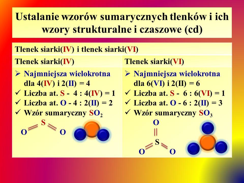 Ustalanie wzorów sumarycznych tlenków i ich wzory strukturalne i czaszowe (cd) Tlenek azotu(III) i tlenek azotu(V) Tlenek azotu(III)Tlenek azotu(V)  Najmniejsza wielokrotna dla 3(III) i 2(II) = 6 Liczba at.