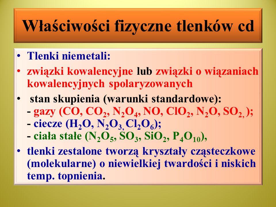 Podział tlenków ze względu na charakter chemiczny Tlenki ze względu na właściwości chemiczne dzieli się na 4 grupy: Kwasowe (reagują z zasadami a w reakcji z wodą dają kwasy), Zasadowe (reagują z kwasami a w reakcji z wodą dają zasady), Amfoteryczne ( reagują z kwasami i silnymi zasadami), Obojętne (nie reagują z kwasami ani zasadami i wodą, mogą rozpuszczać się w wodzie na zasadzie rozpuszczalności fizycznej)