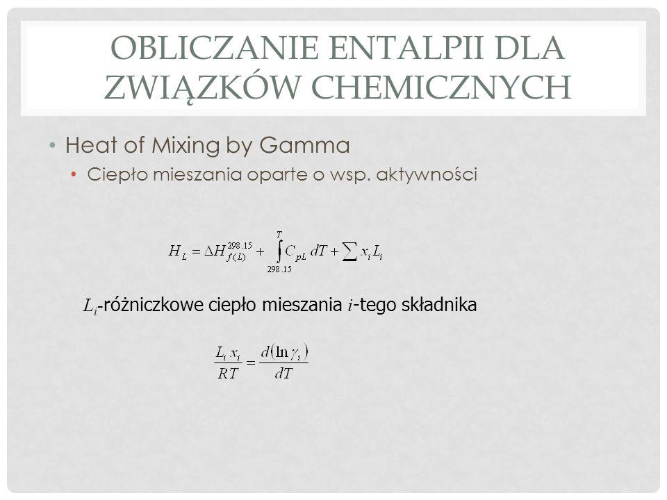 OBLICZANIE ENTALPII DLA ZWIĄZKÓW CHEMICZNYCH Heat of Mixing by Gamma Ciepło mieszania oparte o wsp. aktywności L i - różniczkowe ciepło mieszania i -t