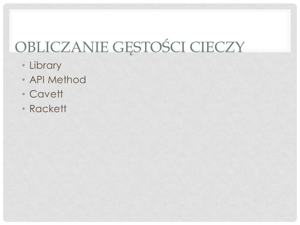 OBLICZANIE GĘSTOŚCI CIECZY Library API Method Cavett Rackett