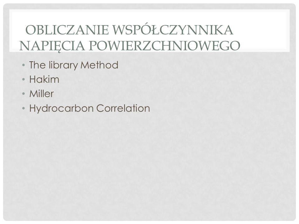 OBLICZANIE WSPÓŁCZYNNIKA NAPIĘCIA POWIERZCHNIOWEGO The library Method Hakim Miller Hydrocarbon Correlation