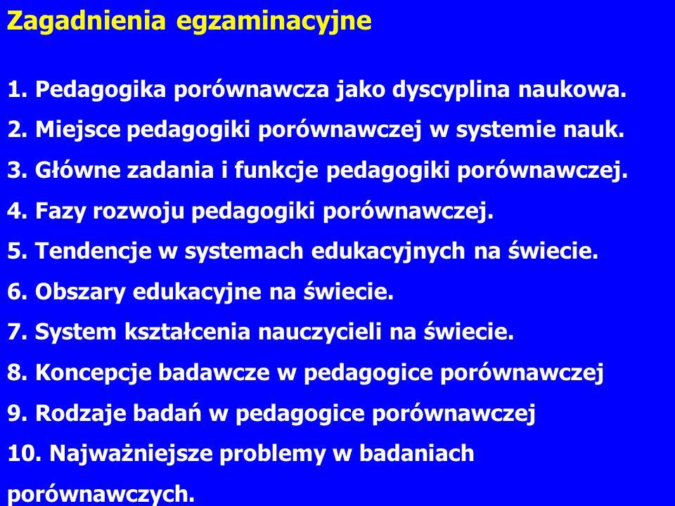 Zagadnienia egzaminacyjne 1. Pedagogika porównawcza jako dyscyplina naukowa.