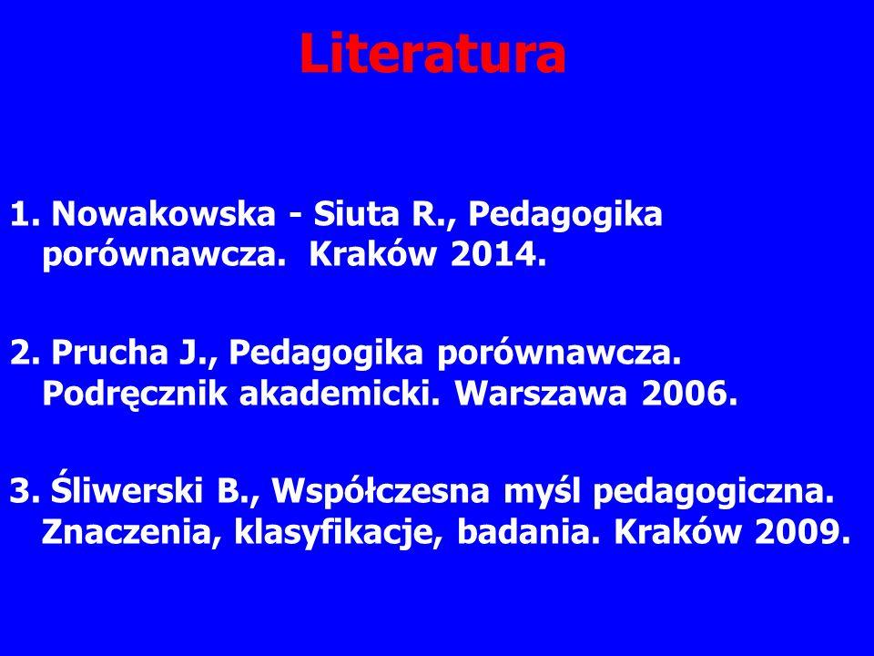 Literatura 1. Nowakowska - Siuta R., Pedagogika porównawcza.