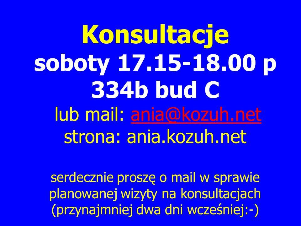 Konsultacje soboty 17.15-18.00 p 334b bud C lub mail: ania@kozuh.net strona: ania.kozuh.net serdecznie proszę o mail w sprawie planowanej wizyty na konsultacjach (przynajmniej dwa dni wcześniej:-)ania@kozuh.net