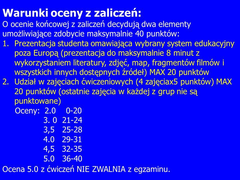 Warunki oceny z zaliczeń: O ocenie końcowej z zaliczeń decydują dwa elementy umożliwiające zdobycie maksymalnie 40 punktów: 1.Prezentacja studenta omawiająca wybrany system edukacyjny poza Europą (prezentacja do maksymalnie 8 minut z wykorzystaniem literatury, zdjęć, map, fragmentów filmów i wszystkich innych dostępnych źródeł) MAX 20 punktów 2.Udział w zajęciach ćwiczeniowych (4 zajęciax5 punktów) MAX 20 punktów (ostatnie zajęcia w każdej z grup nie są punktowane) Oceny: 2.0 0-20 3.