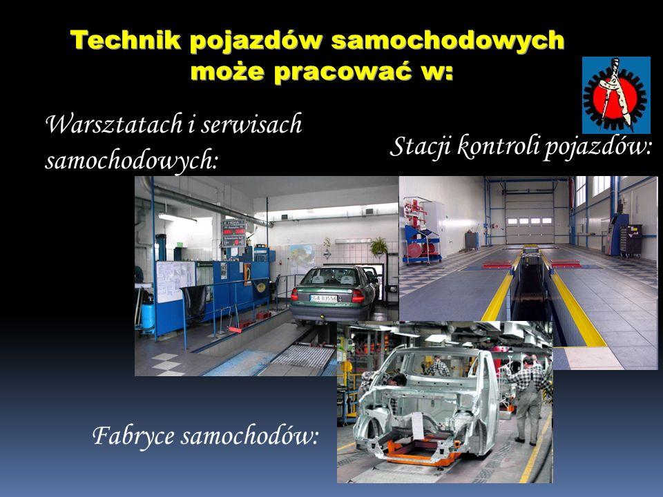 Warsztatach i serwisach samochodowych: Stacji kontroli pojazdów: Technik pojazdów samochodowych może pracować w: może pracować w: Fabryce samochodów: