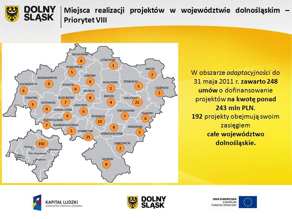 Miejsca realizacji projektów w województwie dolnośląskim – Priorytet VIII 8 9 6 4 3 6 5 7 6 4 8 5 9 6 8 1 21 10 4 21 5 1 7 1 6 2 2 2 7 192 W obszarze adaptacyjności do 31 maja 2011 r.