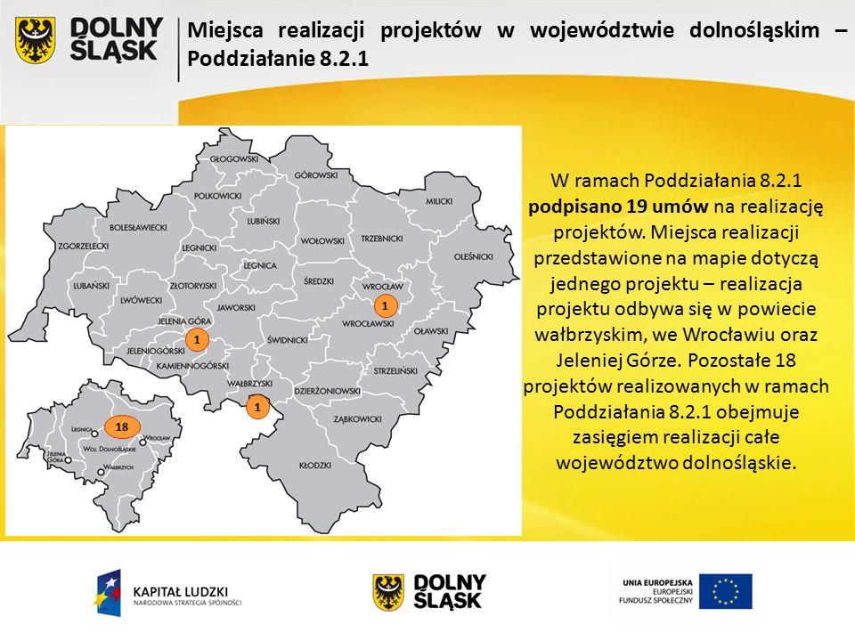 Miejsca realizacji projektów w województwie dolnośląskim – Poddziałanie 8.2.1 1 1 1 18 W ramach Poddziałania 8.2.1 podpisano 19 umów na realizację projektów.