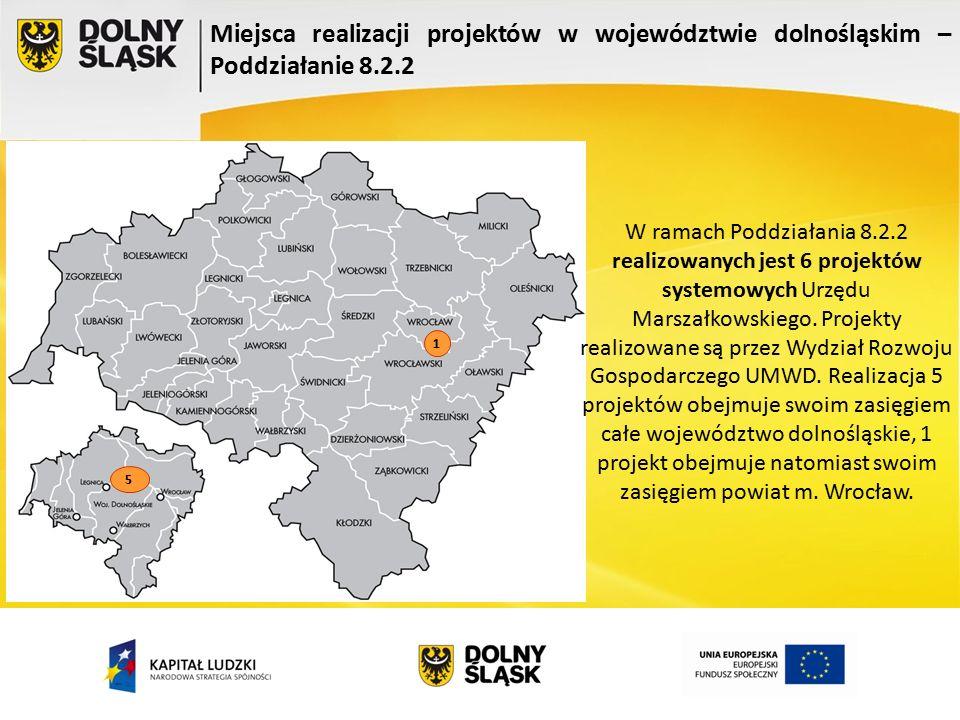 Miejsca realizacji projektów w województwie dolnośląskim – Poddziałanie 8.2.2 5 1 W ramach Poddziałania 8.2.2 realizowanych jest 6 projektów systemowych Urzędu Marszałkowskiego.