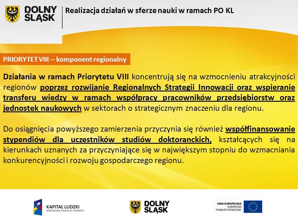 Realizacja działań w sferze nauki w ramach PO KL PRIORYTET VIII – komponent regionalny Działania w ramach Priorytetu VIII koncentrują się na wzmocnieniu atrakcyjności regionów poprzez rozwijanie Regionalnych Strategii Innowacji oraz wspieranie transferu wiedzy w ramach współpracy pracowników przedsiębiorstw oraz jednostek naukowych w sektorach o strategicznym znaczeniu dla regionu.