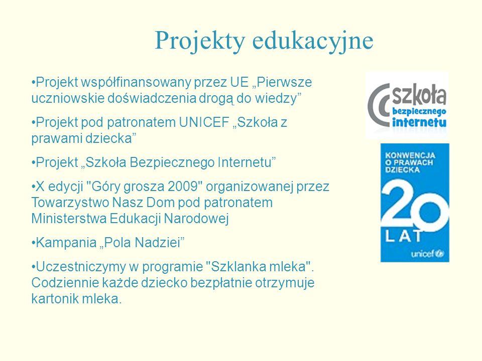 """Projekty edukacyjne Projekt współfinansowany przez UE """"Pierwsze uczniowskie doświadczenia drogą do wiedzy Projekt pod patronatem UNICEF """"Szkoła z prawami dziecka Projekt """"Szkoła Bezpiecznego Internetu X edycji Góry grosza 2009 organizowanej przez Towarzystwo Nasz Dom pod patronatem Ministerstwa Edukacji Narodowej Kampania """"Pola Nadziei Uczestniczymy w programie Szklanka mleka ."""