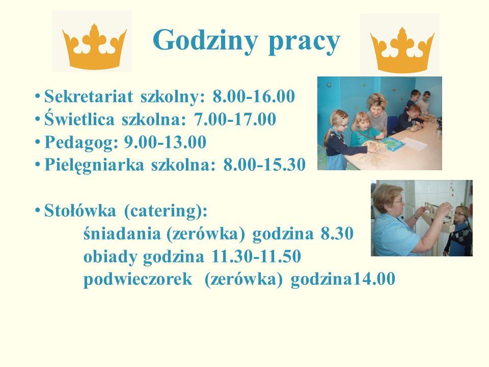 Godziny pracy Sekretariat szkolny: 8.00-16.00 Świetlica szkolna: 7.00-17.00 Pedagog: 9.00-13.00 Pielęgniarka szkolna: 8.00-15.30 Stołówka (catering): śniadania (zerówka) godzina 8.30 obiady godzina 11.30-11.50 podwieczorek (zerówka) godzina14.00