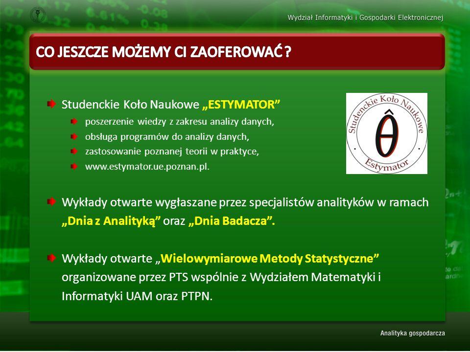 """Studenckie Koło Naukowe """"ESTYMATOR poszerzenie wiedzy z zakresu analizy danych, obsługa programów do analizy danych, zastosowanie poznanej teorii w praktyce, www.estymator.ue.poznan.pl."""