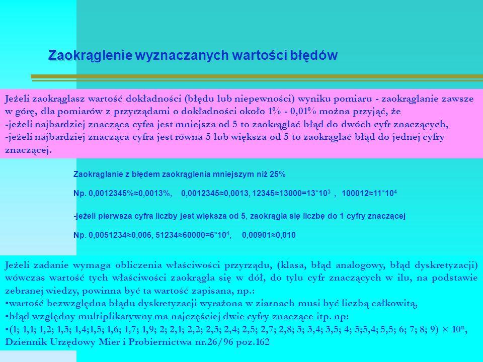 Zaokrąglenie wyznaczanych wartości błędów Zaokrąglanie z błędem zaokrąglenia mniejszym niż 25% Np.