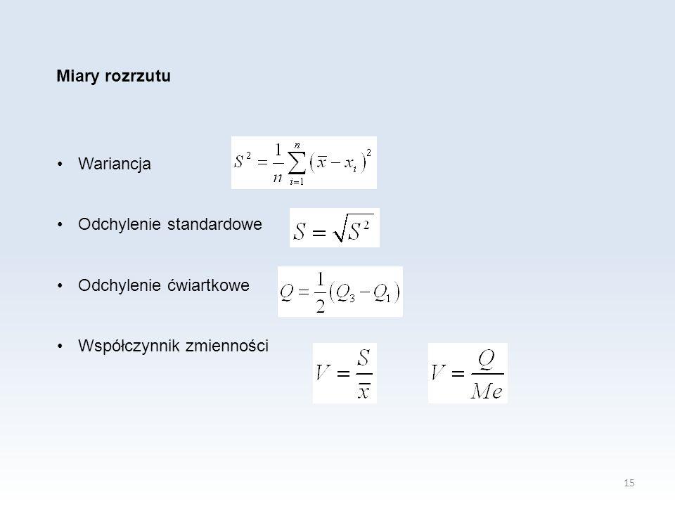 15 Miary rozrzutu Wariancja Odchylenie standardowe Odchylenie ćwiartkowe Współczynnik zmienności