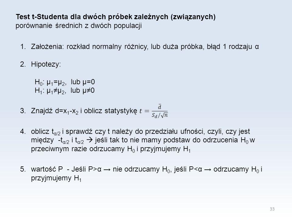 33 Test t-Studenta dla dwóch próbek zależnych (związanych) porównanie średnich z dwóch populacji