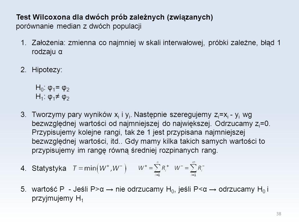 38 Test Wilcoxona dla dwóch prób zależnych (związanych) porównanie median z dwóch populacji 1.Założenia: zmienna co najmniej w skali interwałowej, próbki zależne, błąd 1 rodzaju α 2.Hipotezy: H 0 : φ 1 = φ 2 H 1 : φ 1 ≠ φ 2 3.Tworzymy pary wyników x i i y i.