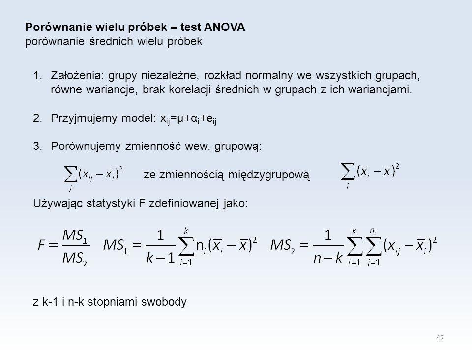 47 Porównanie wielu próbek – test ANOVA porównanie średnich wielu próbek 1.Założenia: grupy niezależne, rozkład normalny we wszystkich grupach, równe wariancje, brak korelacji średnich w grupach z ich wariancjami.