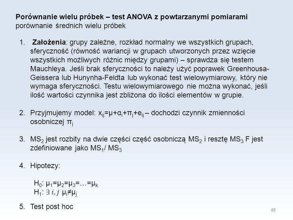 49 Porównanie wielu próbek – test ANOVA z powtarzanymi pomiarami porównanie średnich wielu próbek