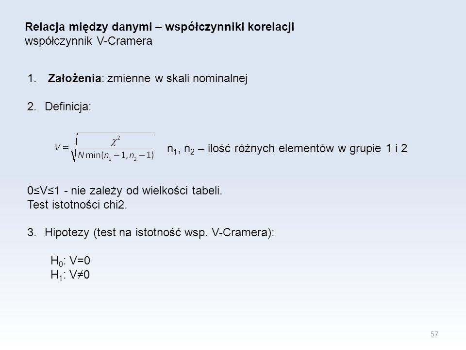 57 Relacja między danymi – współczynniki korelacji współczynnik V-Cramera 1. Założenia: zmienne w skali nominalnej 2.Definicja: n 1, n 2 – ilość różny