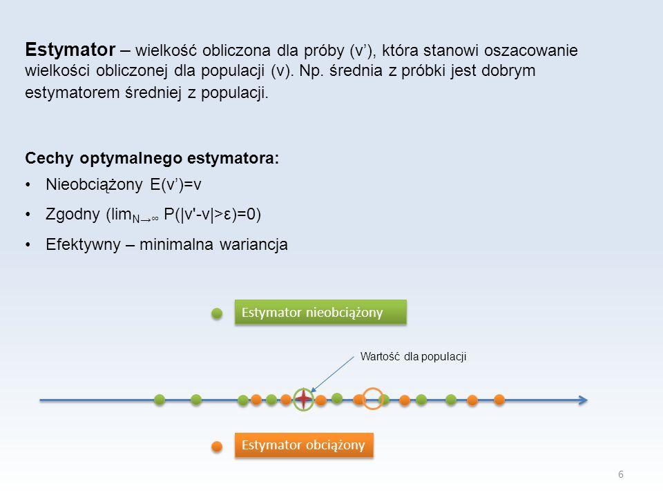 6 Estymator – wielkość obliczona dla próby (v'), która stanowi oszacowanie wielkości obliczonej dla populacji (v). Np. średnia z próbki jest dobrym es